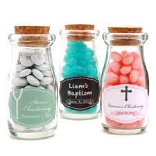 baptism favors christening baptism personalized vintage milk favor jars
