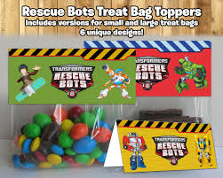 transformers rescue bots party supplies rescue bots inspired treat bag toppers rescue by instbirthday on