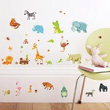 stickers chambre enfants vovotrade forêt animaux elephant squirrel kindergarten stickers