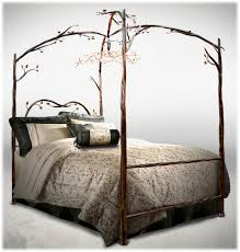 bedroom modern black stained mahogany wood 4 poster canopy bed