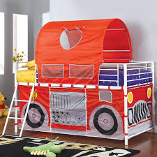 Fire Engine Bed Tanner Fire Truck Inspired Twin Loft Bed With Red Tent Hayneedle