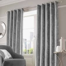 Silver Black Curtains Crushed Velvet Pair Fully Lined Eyelet Ring Top Curtains Ready