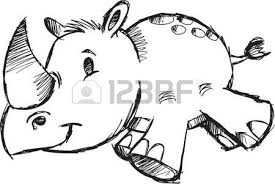 doodle sketch safari rhino vector illustration royalty free