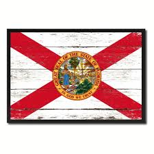 florida state flag vintage canvas print with black picture frame