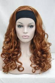 headband wigs 2017 new super fashion sexy orange brown 3 4 wig with headband curly