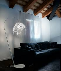 Small Arc Floor Lamp Fabulous Apartment Living Room Design Featuring White Sofas And