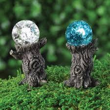 Gazing Balls Garden Fiddlehead Fairy Garden Miniature Tree Stump Gazing Ball