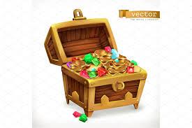 treasure chest gems coins vector illustrations creative market