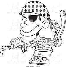 vector of a cartoon pirate boy shooting water gun coloring page