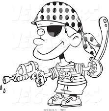 vector cartoon pirate boy shooting water gun coloring