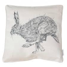 Stag Cushions Hare Cushion Shop Linen Cushions By Sarah Boddy