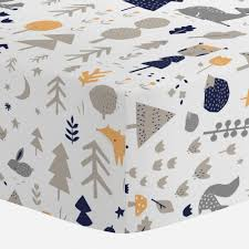image of plaid print gray and navy blue crib bedding navy blue