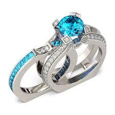 aquamarine wedding rings jeulia cut created aquamarine wedding set 2 9ct tw jeulia