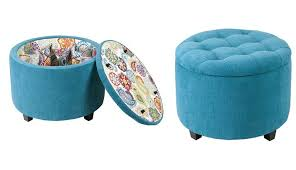 designs ideas small blue tufted ottoman with storage cozy