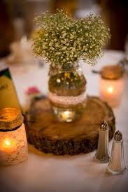 Mason Jar Centerpieces Wedding by Country Chic Wedding Centerpieces Wood Slice Under The Vase