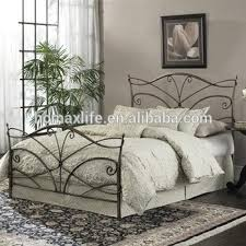 modern wrought iron bed with wooden slats for bed room furniture