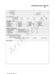 Business Travel Report Template Field Observation Report Template