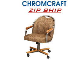 Chromcraft Furniture Kitchen Chair With Wheels Chromcraft Chair On Wheels Medium Oak Cm 188 Zip Ship Kitchen