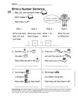 write a number sentence gr 1 teachervision