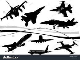black white airplane silhouettes one click stock vector 32079679