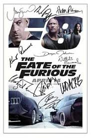 fast and furious 8 in taiwan fate of the furious cast x10 signed photo print autograph poster