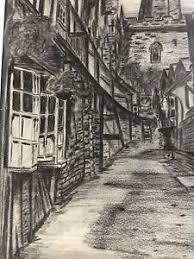original pencil sketch tudor architecture buildings passage