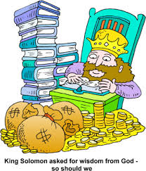 image king solomon with a pile of money and a stack of books