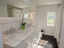 Bathrooms With Wainscoting Traditional Full Bathroom With Complex Marble U0026 Double Sink In