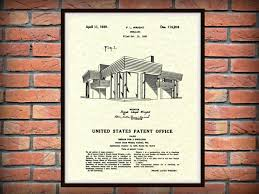 Frank Lloyd Wright Prints by Patent 1939 Frank Lloyd Wright House Architecture Dwelling Art