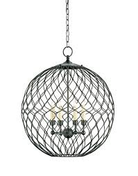 Lighting 4 Light Black Iron Orb Chandelier For Elegant Kitchen