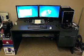 Computer Desk For Two Monitors Dual Monitor Computer Desk Dynamicpeople Club