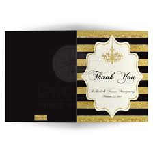 personalized thank you cards personalized thank you card faux gold foil ivory black stripes