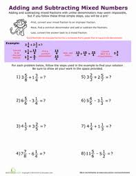 adding and subtracting mixed numbers worksheet education com