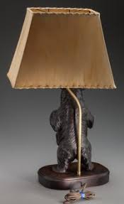 a black forest carved wood bear lamp with shade 20th century
