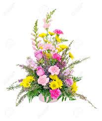 colorful fresh flower arrangement centerpiece with daisies