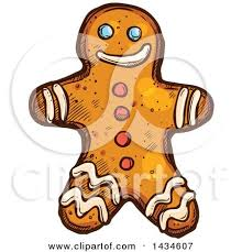 clipart of a sketched gingerbread man cookie royalty free vector