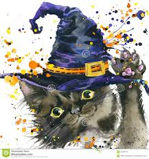 purple and black halloween background halloween cat and witch hat watercolor illustration background