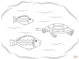 turtle and fishes aboriginal art coloring page free printable