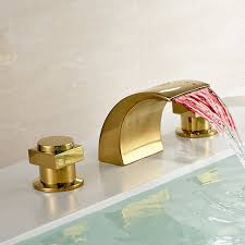 Led Bathroom Faucet Gold Polished Led Waterfall Bathroom Sink Faucet