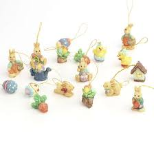 miniature polystone easter themed ornaments and easter