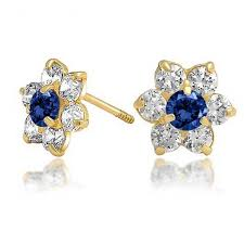 baby earrings with safety backs kids color safety screwback cz flower studs 14k gold