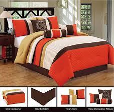 Comforter Orange Modern 7 Piece Bedding Orange Brown White Pin Tuck