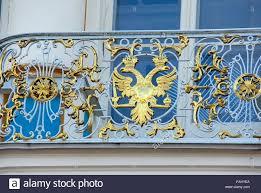 detail of balcony rail in catherine palace in tsarskoye selo stock