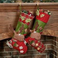cheerful moose christmas stocking set of 2