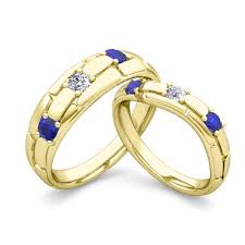 wedding rings his hers his hers wedding anniversary ring diamond blue sapphire 14k gold