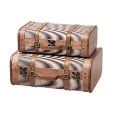 slpr decorative suitcase with straps set of 2 striped old