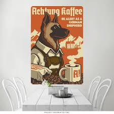 german shepherd dog coffee ad wall decal vintage style pet decor