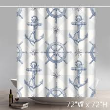 Shower Curtain Custom Custom Nautical Anchor Sailing Ships Wheel Compass Patter