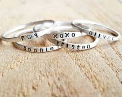 personalized stackable rings stackable name rings etsy