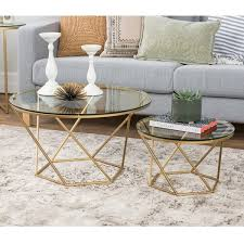 Nesting Coffee Tables Geometric Glass Nesting Coffee Tables Free Shipping Today